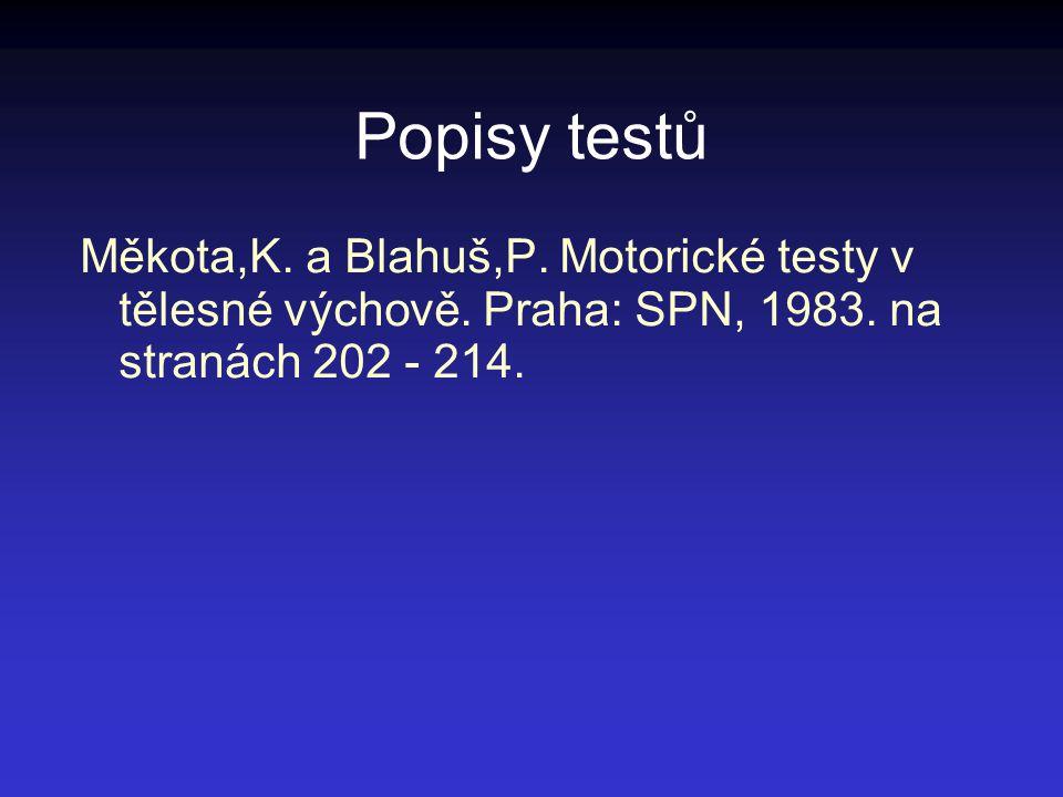 Popisy testů Měkota,K. a Blahuš,P. Motorické testy v tělesné výchově. Praha: SPN, 1983. na stranách 202 - 214.
