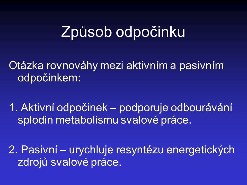Způsob odpočinku Otázka rovnováhy mezi aktivním a pasivním odpočinkem: 1. Aktivní odpočinek – podporuje odbourávání splodin metabolismu svalové práce.
