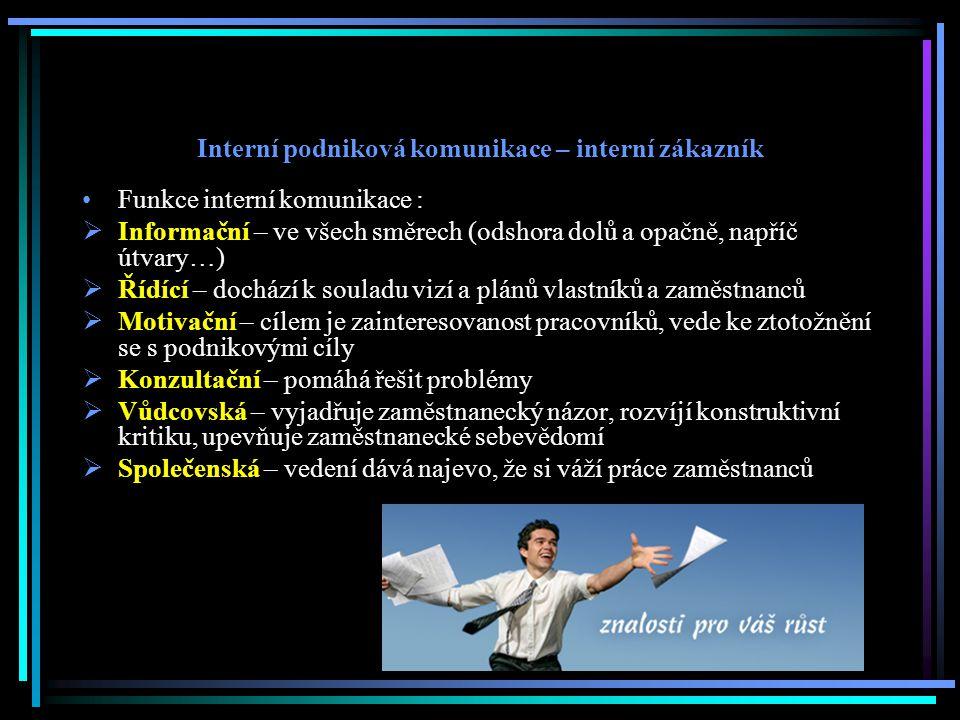 Interní podniková komunikace – interní zákazník Funkce interní komunikace :  Informační – ve všech směrech (odshora dolů a opačně, napříč útvary…) 