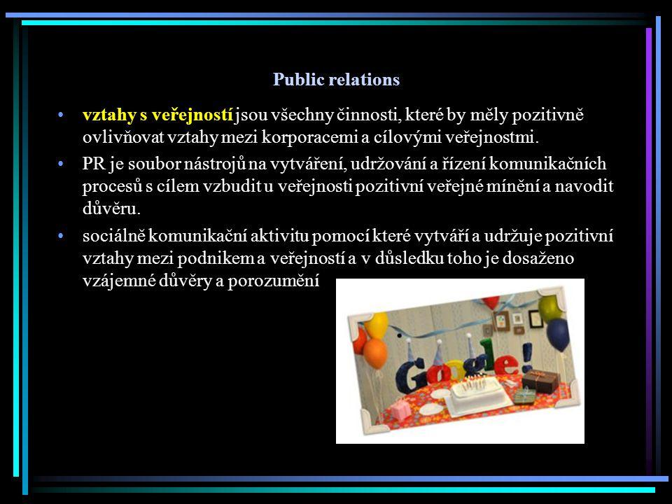 Public relations vztahy s veřejností jsou všechny činnosti, které by měly pozitivně ovlivňovat vztahy mezi korporacemi a cílovými veřejnostmi. PR je s
