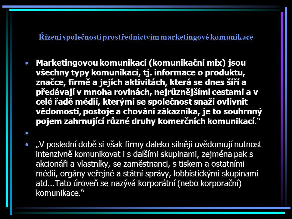 Řízení společnosti prostřednictvím marketingové komunikace Marketingovou komunikací (komunikační mix) jsou všechny typy komunikací, tj. informace o pr