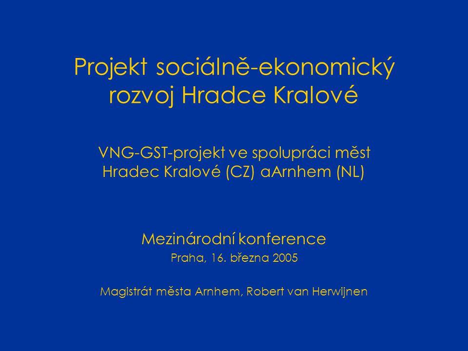 Projekt sociálně-ekonomický rozvoj Hradce Kralové VNG-GST-projekt ve spolupráci měst Hradec Kralové (CZ) aArnhem (NL) Mezinárodní konference Praha, 16.