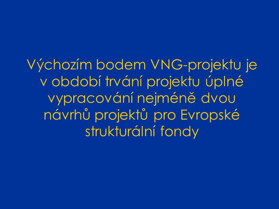 Výchozím bodem VNG-projektu je v období trvání projektu úplné vypracování nejméně dvou návrhů projektů pro Evropské strukturální fondy