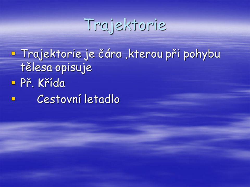 Trajektorie  Trajektorie je čára,kterou při pohybu tělesa opisuje  Př. Křída  Cestovní letadlo