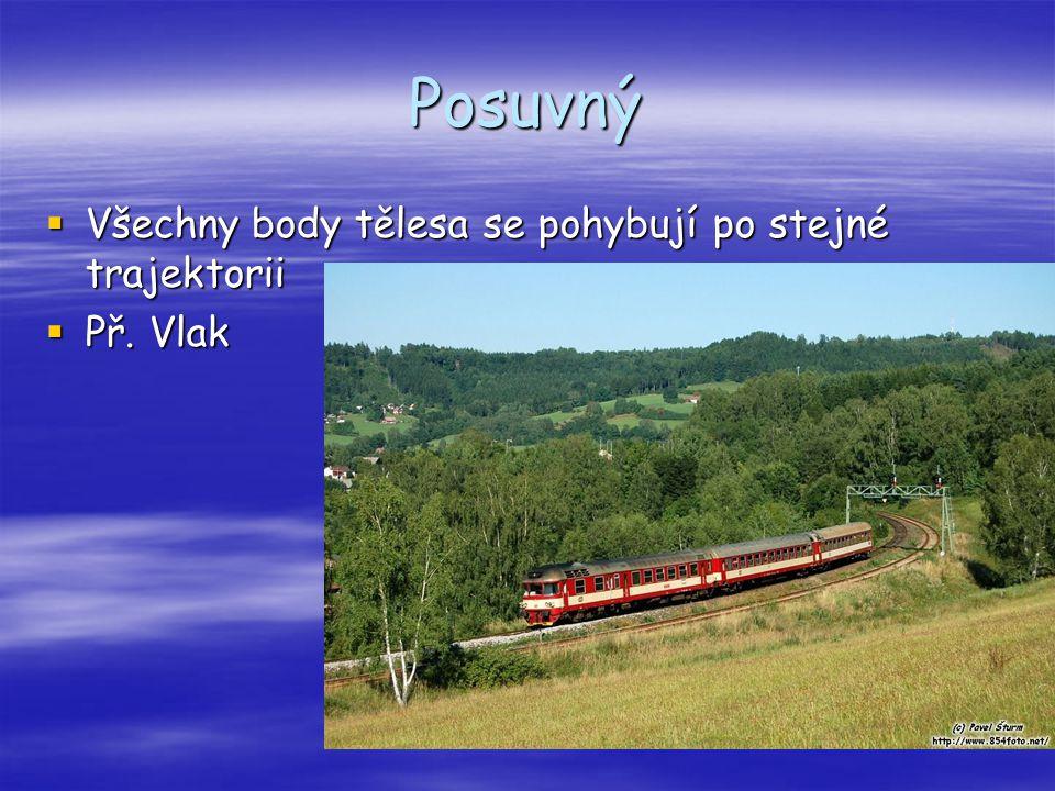 Posuvný  Všechny body tělesa se pohybují po stejné trajektorii  Př. Vlak