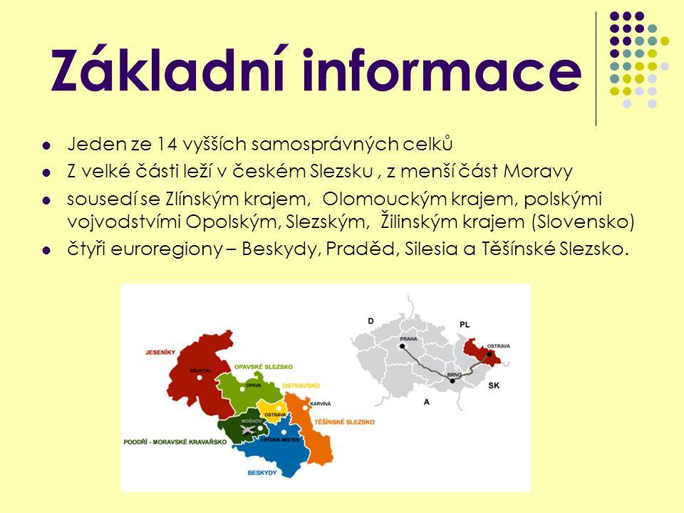 Základní informace Jeden ze 14 vyšších samosprávných celků Z velké části leží v českém Slezsku, z menší část Moravy sousedí se Zlínským krajem, Olomouckým krajem, polskými vojvodstvími Opolským, Slezským, Žilinským krajem (Slovensko) čtyři euroregiony – Beskydy, Praděd, Silesia a Těšínské Slezsko.