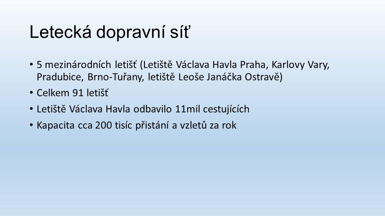 Letecká dopravní síť 5 mezinárodních letišť (Letiště Václava Havla Praha, Karlovy Vary, Pradubice, Brno-Tuřany, letiště Leoše Janáčka Ostravě) Celkem