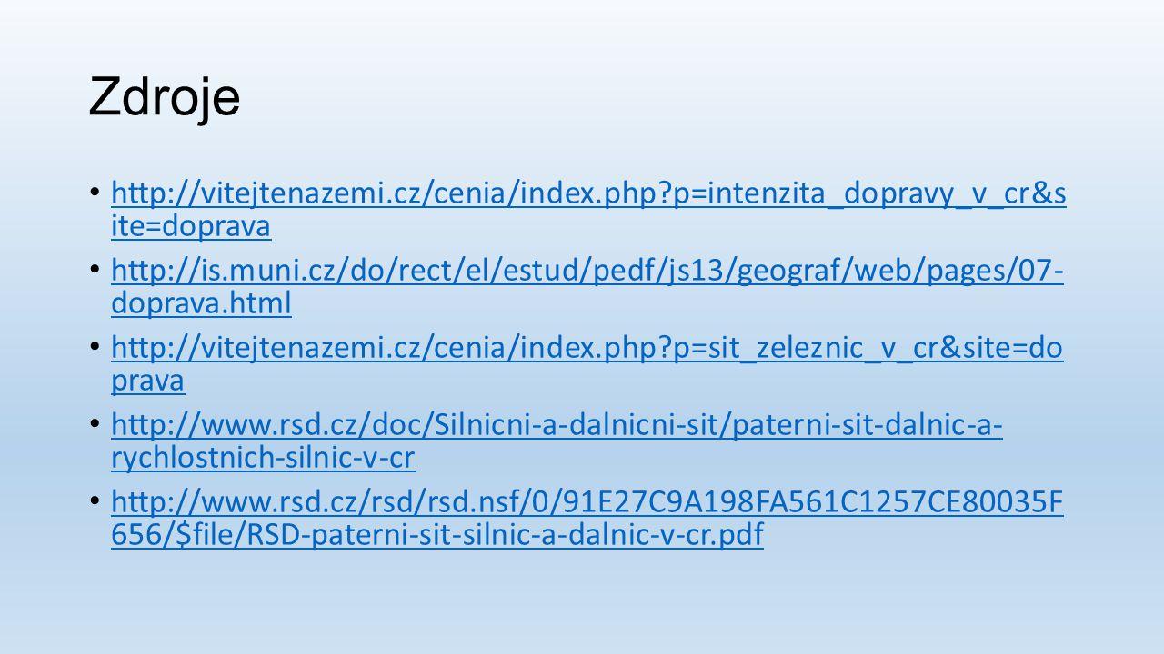 Zdroje http://vitejtenazemi.cz/cenia/index.php?p=intenzita_dopravy_v_cr&s ite=doprava http://vitejtenazemi.cz/cenia/index.php?p=intenzita_dopravy_v_cr