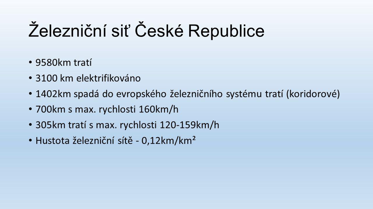 Železniční siť České Republice 9580km tratí 3100 km elektrifikováno 1402km spadá do evropského železničního systému tratí (koridorové) 700km s max. ry