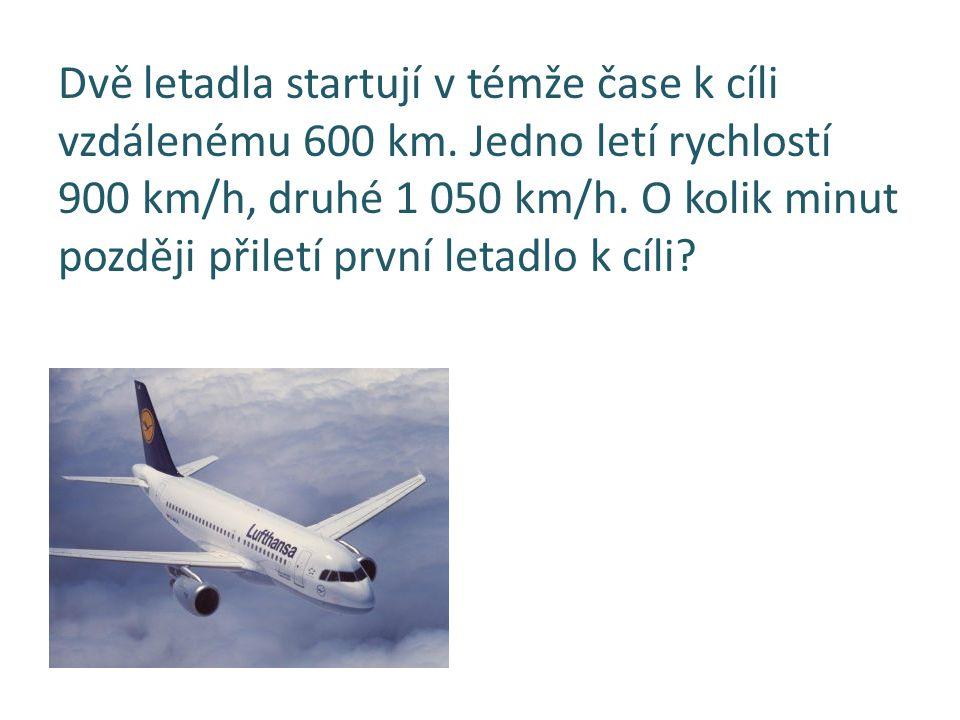 Dvě letadla startují v témže čase k cíli vzdálenému 600 km. Jedno letí rychlostí 900 km/h, druhé 1 050 km/h. O kolik minut později přiletí první letad