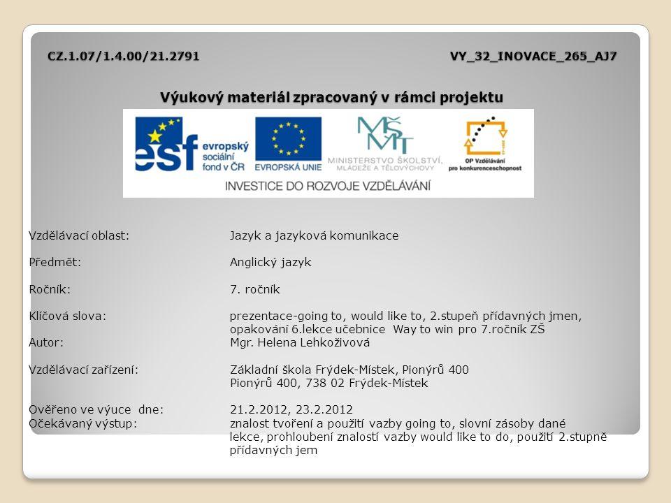 CZ.1.07/1.4.00/21.2791VY_32_INOVACE_265_AJ7 Výukový materiál zpracovaný v rámci projektu Vzdělávací oblast:Jazyk a jazyková komunikace Předmět:Anglick