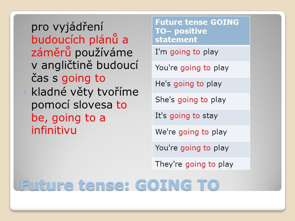 Future tense: GOING TO pro vyjádření budoucích plánů a záměrů používáme v angličtině budoucí čas s going to kladné věty tvoříme pomocí slovesa to be,