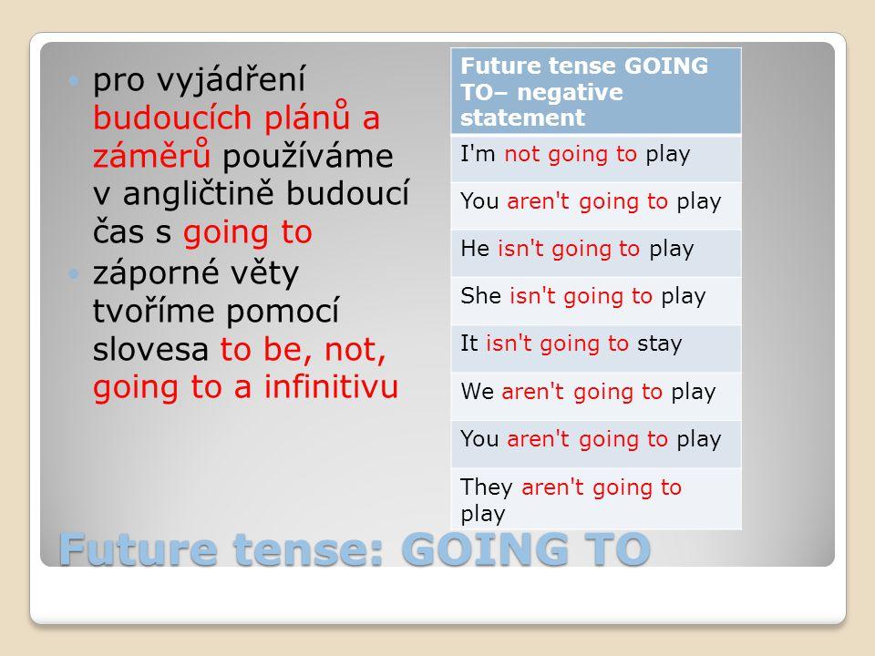 Future tense: GOING TO pro vyjádření budoucích plánů a záměrů používáme v angličtině budoucí čas s going to záporné věty tvoříme pomocí slovesa to be,