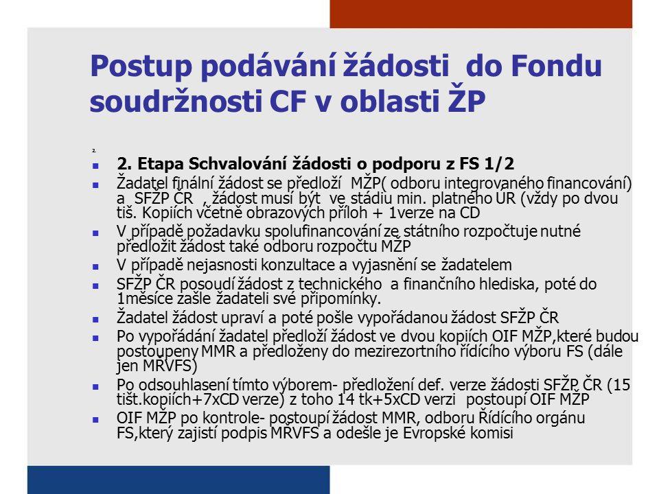Postup podávání žádosti do Fondu soudržnosti CF v oblasti ŽP 2. 2. Etapa Schvalování žádosti o podporu z FS 1/2 Žadatel finální žádost se předloží MŽP