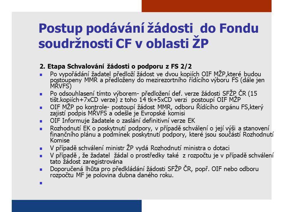 Postup podávání žádosti do Fondu soudržnosti CF v oblasti ŽP 2. Etapa Schvalování žádosti o podporu z FS 2/2 Po vypořádání žadatel předloží žádost ve