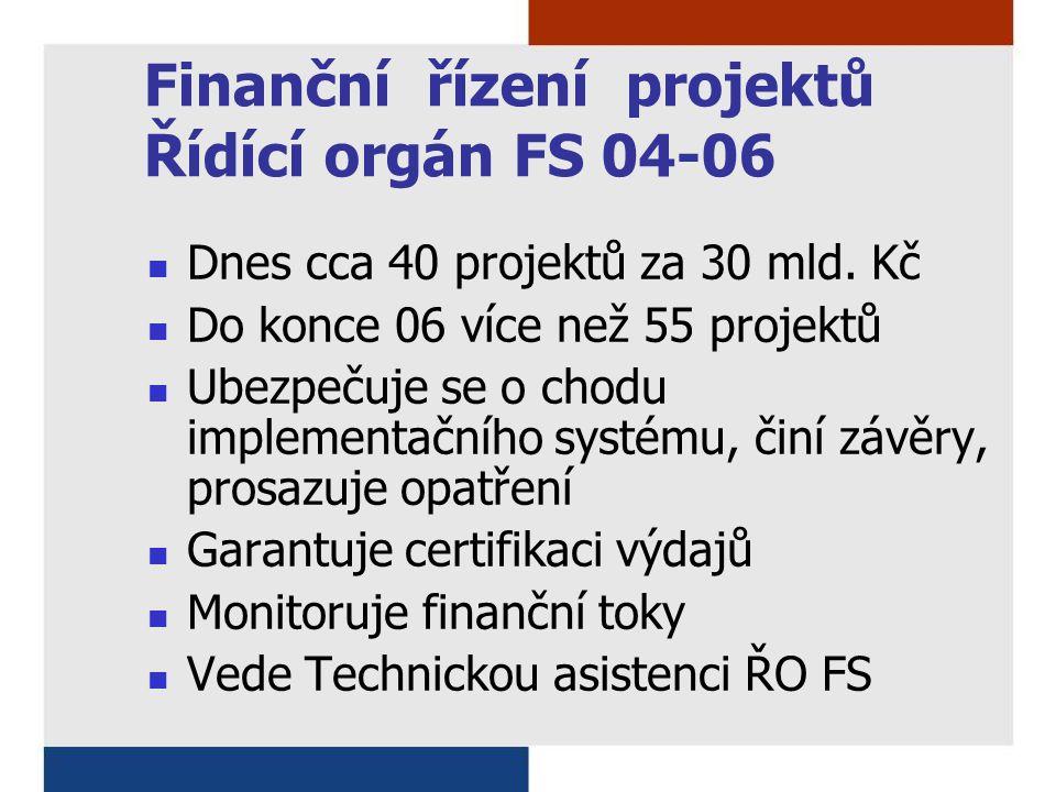 Finanční řízení projektů Řídící orgán FS 04-06 Dnes cca 40 projektů za 30 mld. Kč Do konce 06 více než 55 projektů Ubezpečuje se o chodu implementační