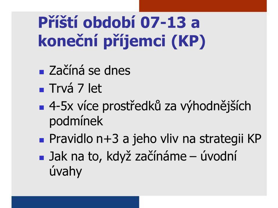 Příští období 07-13 a koneční příjemci (KP) Začíná se dnes Trvá 7 let 4-5x více prostředků za výhodnějších podmínek Pravidlo n+3 a jeho vliv na strategii KP Jak na to, když začínáme – úvodní úvahy