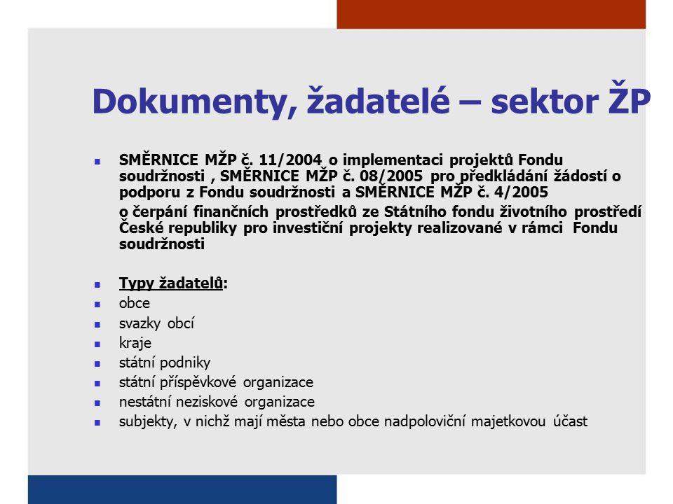 Dokumenty, žadatelé – sektor ŽP SMĚRNICE MŽP č.