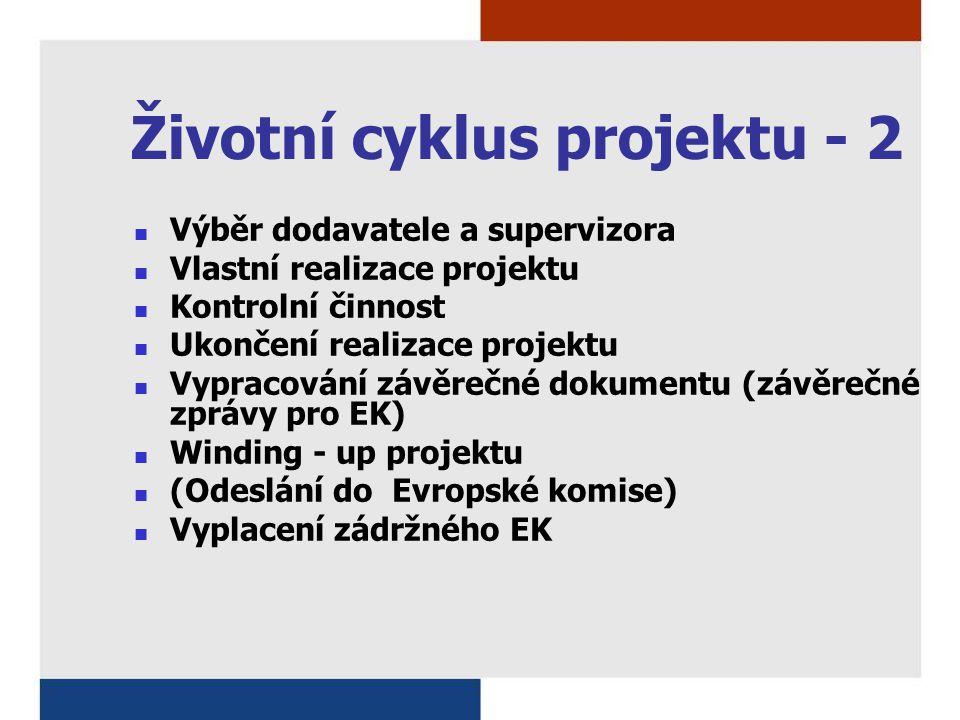 Životní cyklus projektu - 2 Výběr dodavatele a supervizora Vlastní realizace projektu Kontrolní činnost Ukončení realizace projektu Vypracování závěrečné dokumentu (závěrečné zprávy pro EK) Winding - up projektu (Odeslání do Evropské komise) Vyplacení zádržného EK