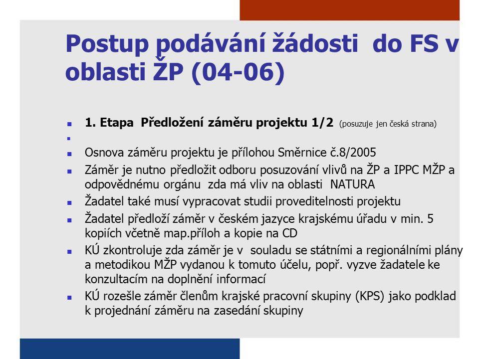 Postup podávání žádosti do FS v oblasti ŽP (04-06) 1. Etapa Předložení záměru projektu 1/2 (posuzuje jen česká strana) Osnova záměru projektu je přílo