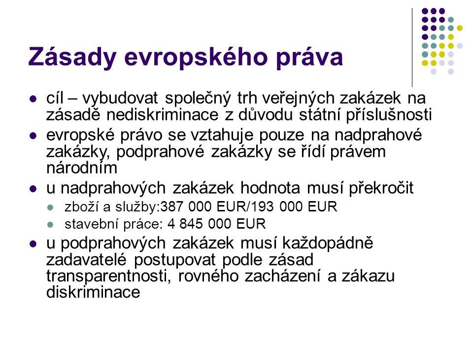 Zásady evropského práva cíl – vybudovat společný trh veřejných zakázek na zásadě nediskriminace z důvodu státní příslušnosti evropské právo se vztahuje pouze na nadprahové zakázky, podprahové zakázky se řídí právem národním u nadprahových zakázek hodnota musí překročit zboží a služby:387 000 EUR/193 000 EUR stavební práce: 4 845 000 EUR u podprahových zakázek musí každopádně zadavatelé postupovat podle zásad transparentnosti, rovného zacházení a zákazu diskriminace