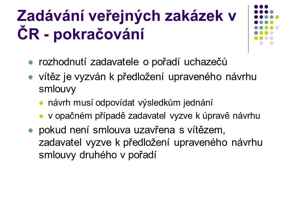 Zadávání veřejných zakázek v ČR - pokračování rozhodnutí zadavatele o pořadí uchazečů vítěz je vyzván k předložení upraveného návrhu smlouvy návrh musí odpovídat výsledkům jednání v opačném případě zadavatel vyzve k úpravě návrhu pokud není smlouva uzavřena s vítězem, zadavatel vyzve k předložení upraveného návrhu smlouvy druhého v pořadí