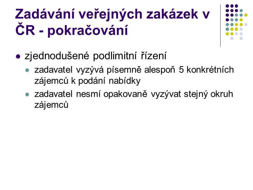 Zadávání veřejných zakázek v ČR - pokračování zjednodušené podlimitní řízení zadavatel vyzývá písemně alespoň 5 konkrétních zájemců k podání nabídky zadavatel nesmí opakovaně vyzývat stejný okruh zájemců
