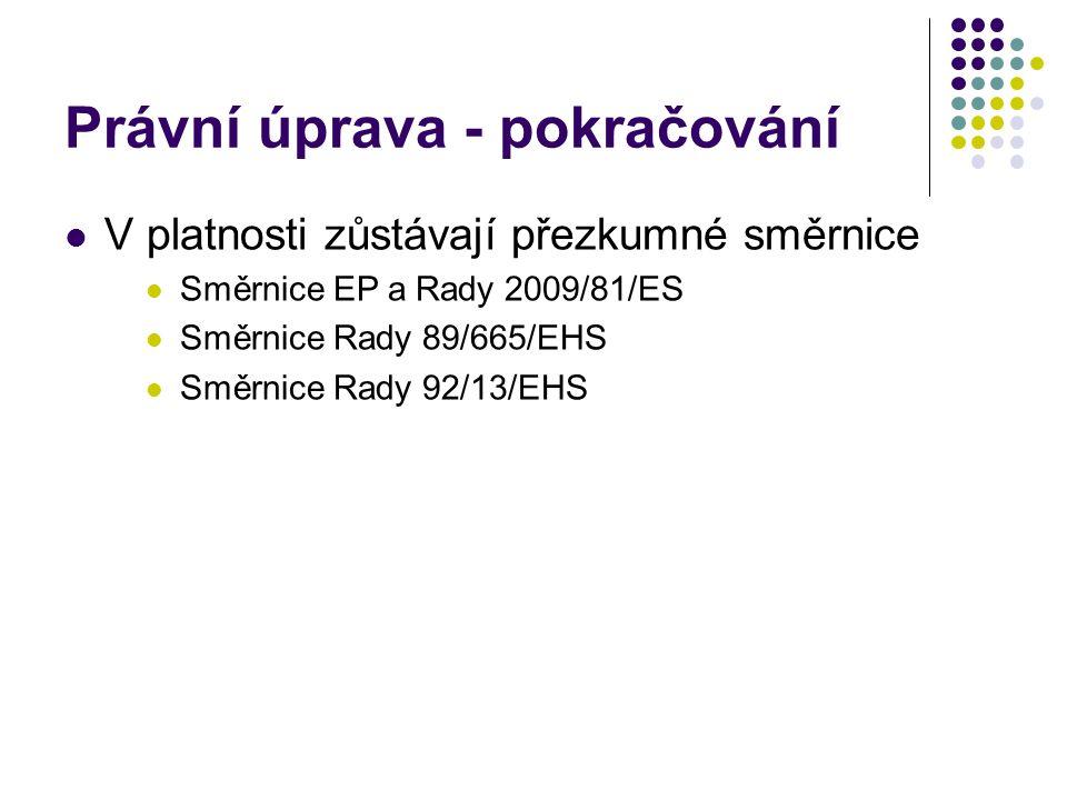 Právní úprava - pokračování V platnosti zůstávají přezkumné směrnice Směrnice EP a Rady 2009/81/ES Směrnice Rady 89/665/EHS Směrnice Rady 92/13/EHS