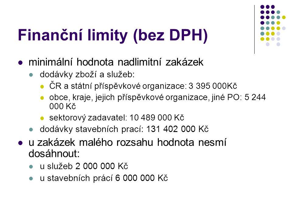 Finanční limity (bez DPH) minimální hodnota nadlimitní zakázek dodávky zboží a služeb: ČR a státní příspěvkové organizace: 3 395 000Kč obce, kraje, jejich příspěvkové organizace, jiné PO: 5 244 000 Kč sektorový zadavatel: 10 489 000 Kč dodávky stavebních prací: 131 402 000 Kč u zakázek malého rozsahu hodnota nesmí dosáhnout: u služeb 2 000 000 Kč u stavebních prácí 6 000 000 Kč