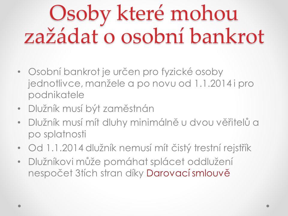 Osoby které mohou zažádat o osobní bankrot Osobní bankrot je určen pro fyzické osoby jednotlivce, manžele a po novu od 1.1.2014 i pro podnikatele Dlužník musí být zaměstnán Dlužník musí mít dluhy minimálně u dvou věřitelů a po splatnosti Od 1.1.2014 dlužník nemusí mít čistý trestní rejstřík Dlužníkovi může pomáhat splácet oddlužení nespočet 3tích stran díky Darovací smlouvě