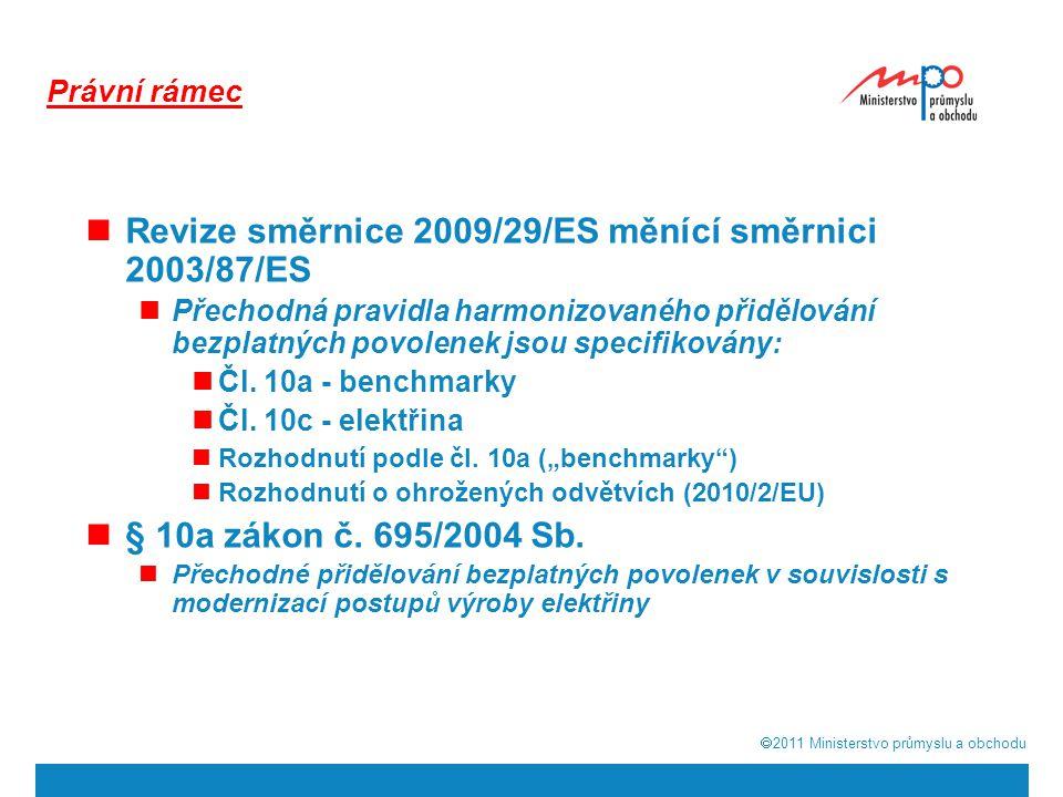  2011  Ministerstvo průmyslu a obchodu Právní rámec Revize směrnice 2009/29/ES měnící směrnici 2003/87/ES Přechodná pravidla harmonizovaného přidělování bezplatných povolenek jsou specifikovány: Čl.