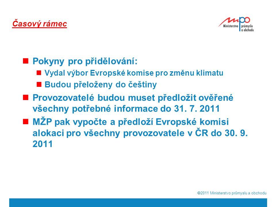  2011  Ministerstvo průmyslu a obchodu Pokyny pro přidělování: Vydal výbor Evropské komise pro změnu klimatu Budou přeloženy do češtiny Provozovate