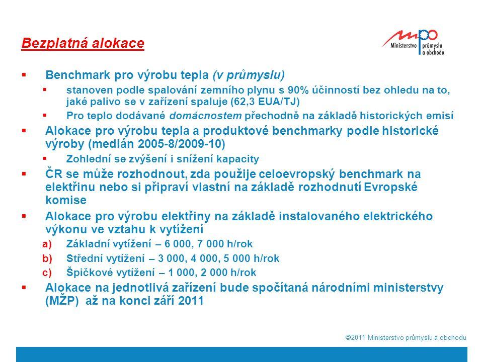  2011  Ministerstvo průmyslu a obchodu Bezplatná alokace  Benchmark pro výrobu tepla (v průmyslu)  stanoven podle spalování zemního plynu s 90% ú