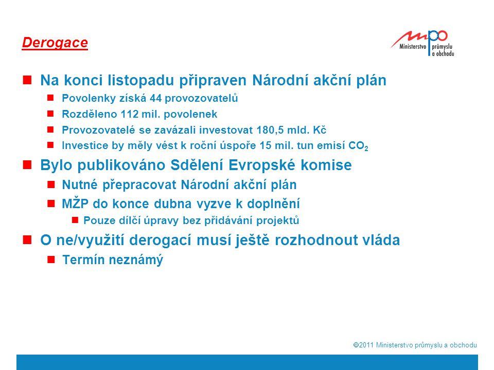  2011  Ministerstvo průmyslu a obchodu Derogace Na konci listopadu připraven Národní akční plán Povolenky získá 44 provozovatelů Rozděleno 112 mil.