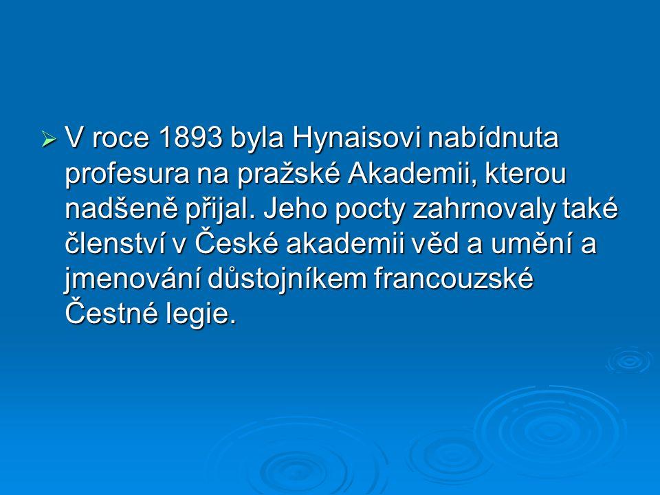  V roce 1893 byla Hynaisovi nabídnuta profesura na pražské Akademii, kterou nadšeně přijal. Jeho pocty zahrnovaly také členství v České akademii věd