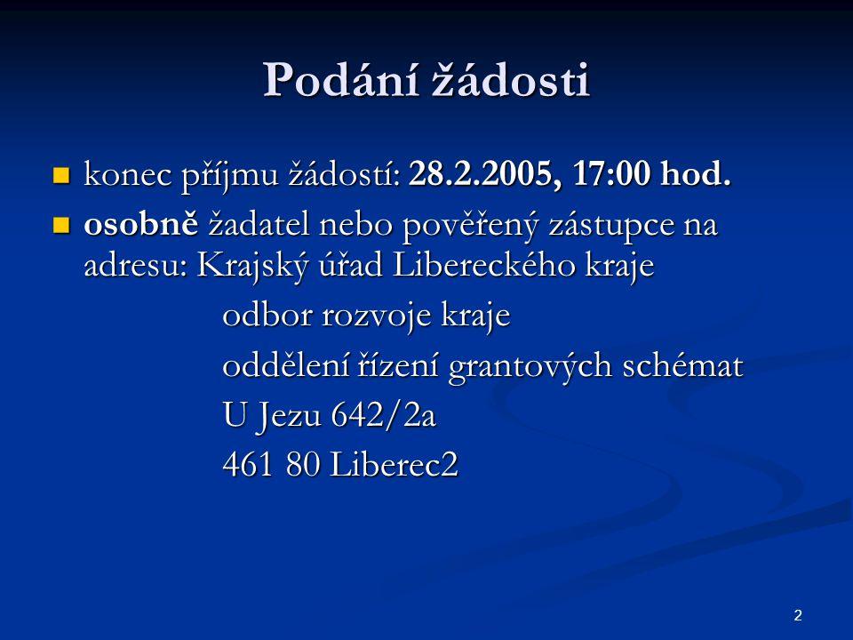 2 Podání žádosti konec příjmu žádostí: 28.2.2005, 17:00 hod.