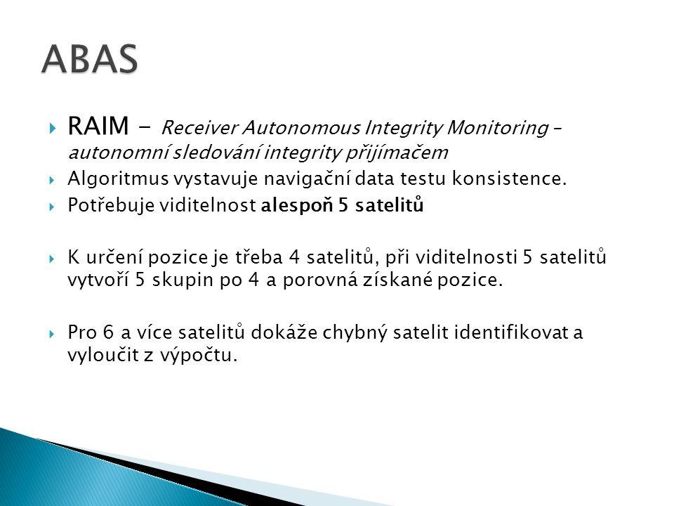  RAIM - Receiver Autonomous Integrity Monitoring – autonomní sledování integrity přijímačem  Algoritmus vystavuje navigační data testu konsistence.