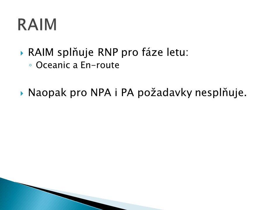  RAIM splňuje RNP pro fáze letu: ◦ Oceanic a En-route  Naopak pro NPA i PA požadavky nesplňuje.