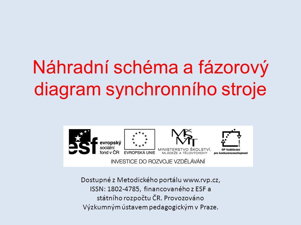 Náhradní schéma a fázorový diagram synchronního stroje Dostupné z Metodického portálu www.rvp.cz, ISSN: 1802-4785, financovaného z ESF a státního rozp