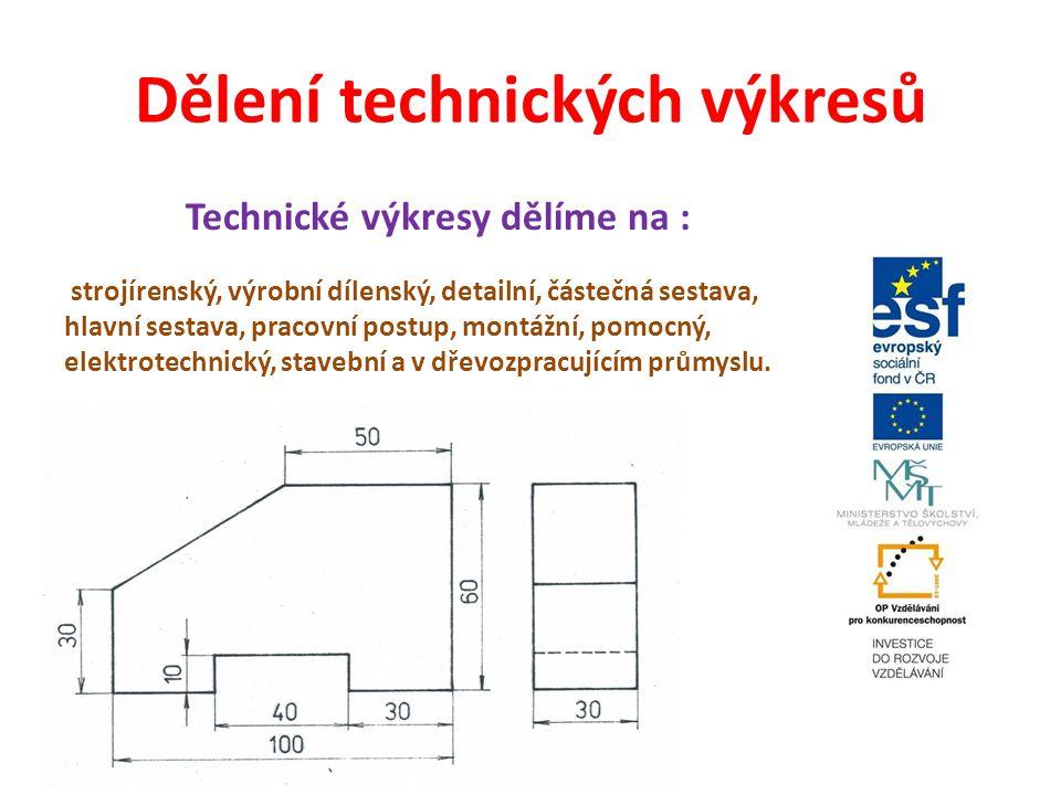 Dělení technických výkresů Technické výkresy dělíme na : strojírenský, výrobní dílenský, detailní, částečná sestava, hlavní sestava, pracovní postup,