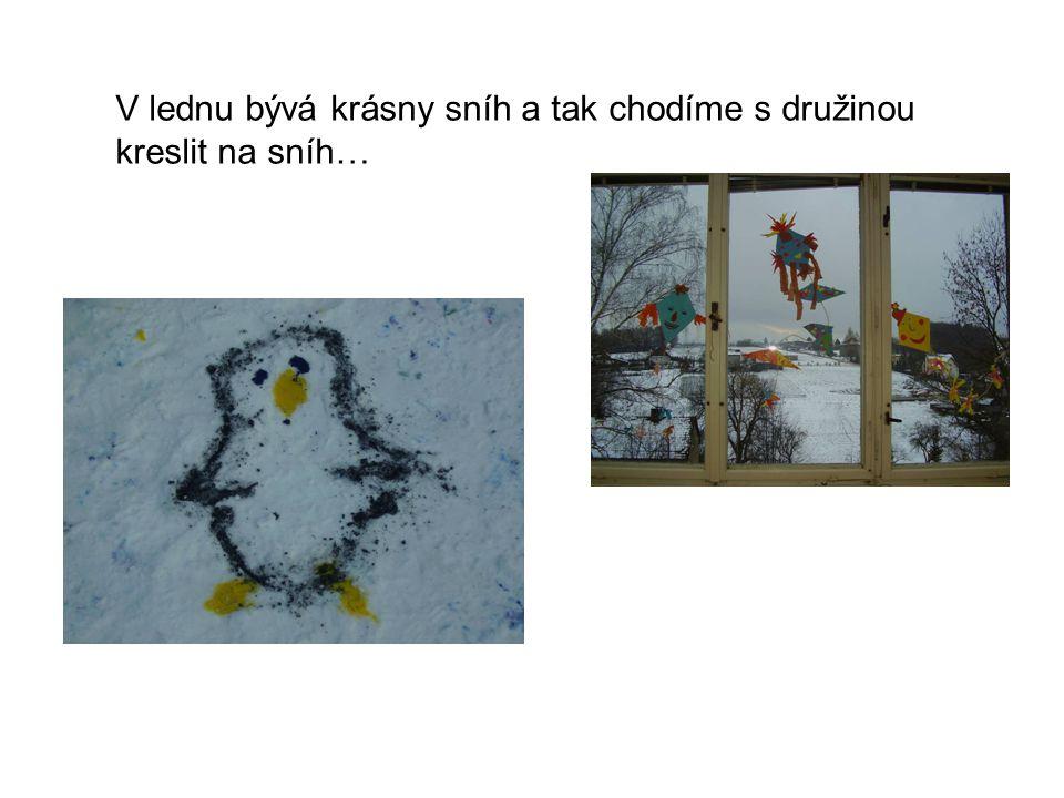 V lednu bývá krásny sníh a tak chodíme s družinou kreslit na sníh…