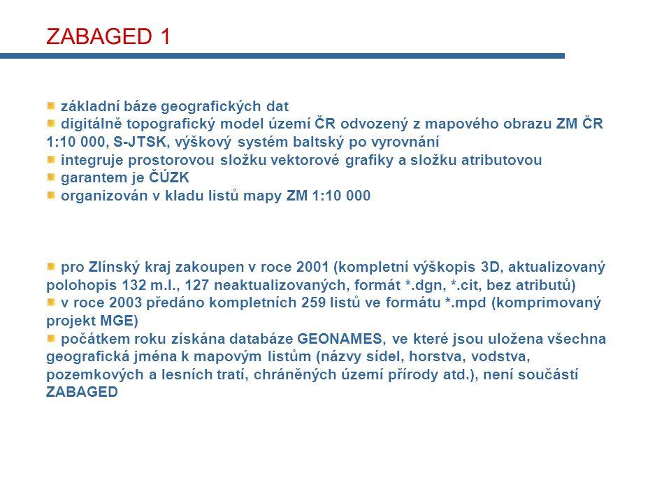 ZABAGED 1 základní báze geografických dat digitálně topografický model území ČR odvozený z mapového obrazu ZM ČR 1:10 000, S-JTSK, výškový systém baltský po vyrovnání integruje prostorovou složku vektorové grafiky a složku atributovou garantem je ČÚZK organizován v kladu listů mapy ZM 1:10 000 pro Zlínský kraj zakoupen v roce 2001 (kompletní výškopis 3D, aktualizovaný polohopis 132 m.l., 127 neaktualizovaných, formát *.dgn, *.cit, bez atributů) v roce 2003 předáno kompletních 259 listů ve formátu *.mpd (komprimovaný projekt MGE) počátkem roku získána databáze GEONAMES, ve které jsou uložena všechna geografická jména k mapovým listům (názvy sídel, horstva, vodstva, pozemkových a lesních tratí, chráněných území přírody atd.), není součástí ZABAGED
