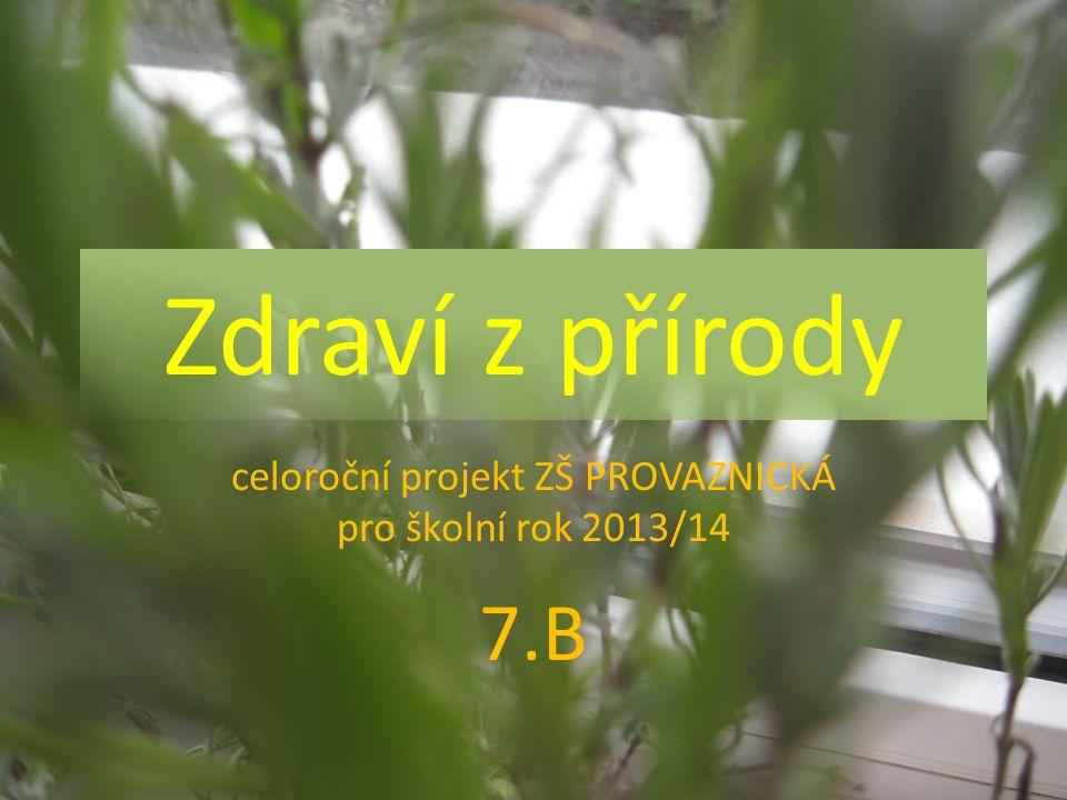 Zdraví z přírody celoroční projekt ZŠ PROVAZNICKÁ pro školní rok 2013/14 7.B