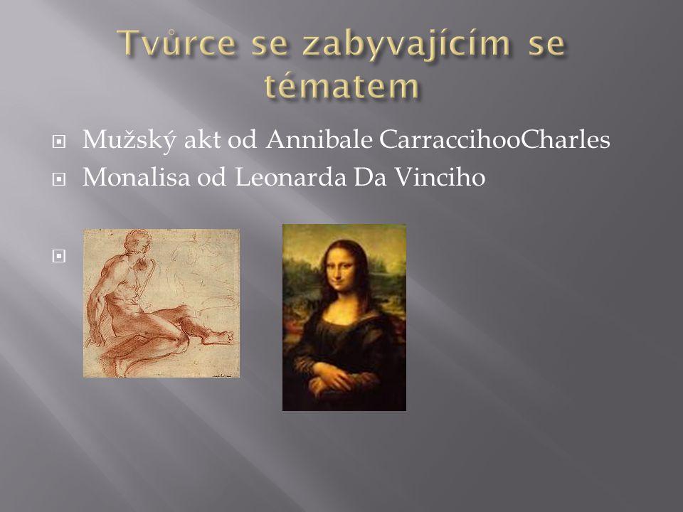  Mužský akt od Annibale CarraccihooCharles  Monalisa od Leonarda Da Vinciho 