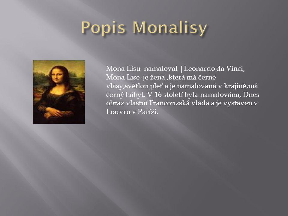 Mona Lisu namaloval |Leonardo da Vinci, Mona Lise je žena,která má černé vlasy,světlou pleť a je namalovaná v krajině,má černý hábyt.