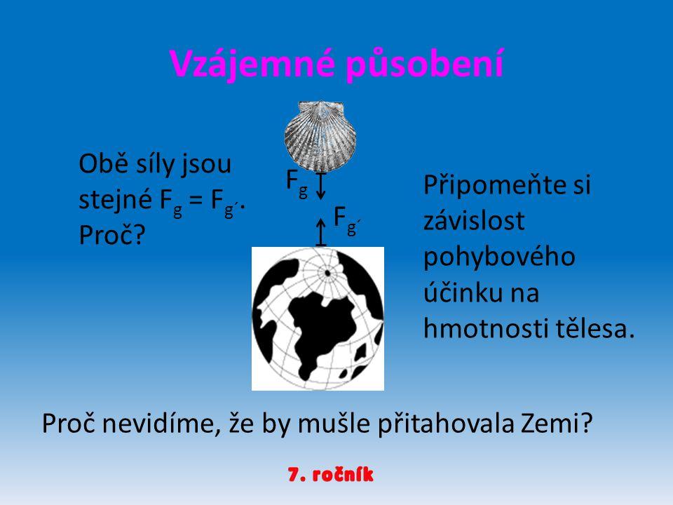 FgFg F g´ Proč nevidíme, že by mušle přitahovala Zemi? Obě síly jsou stejné F g = F g´. Proč? Připomeňte si závislost pohybového účinku na hmotnosti t