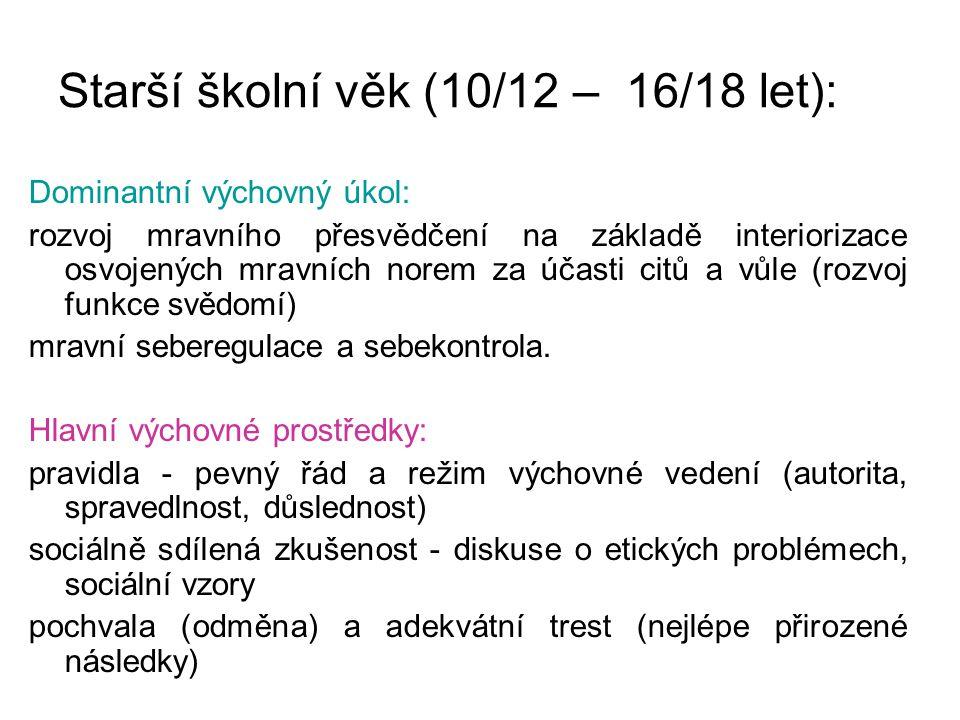 Starší školní věk (10/12 – 16/18 let): Dominantní výchovný úkol: rozvoj mravního přesvědčení na základě interiorizace osvojených mravních norem za úča