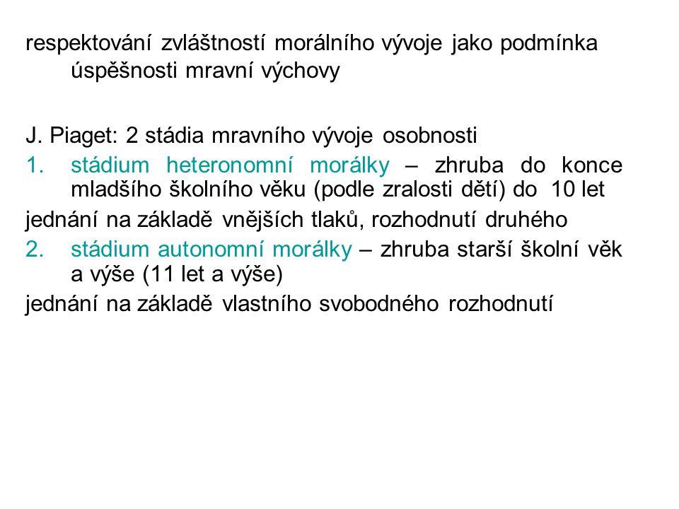 L.Kohlberg: 3 stádia mravního vývoje 1.