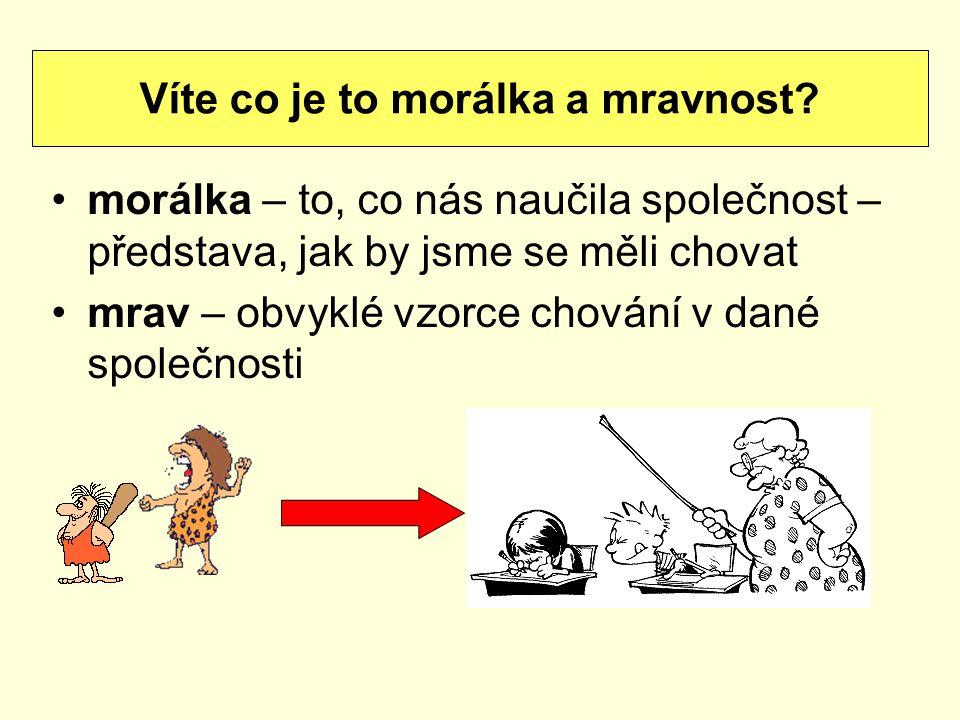 morálka – to, co nás naučila společnost – představa, jak by jsme se měli chovat mrav – obvyklé vzorce chování v dané společnosti Víte co je to morálka