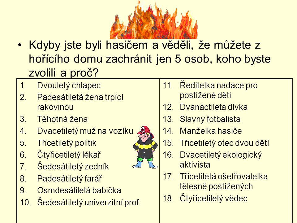 Kdyby jste byli hasičem a věděli, že můžete z hořícího domu zachránit jen 5 osob, koho byste zvolili a proč? 1.Dvouletý chlapec 2.Padesátiletá žena tr